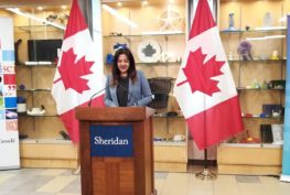 Minister of Science and Sport, Kristy Duncan, alongside MP Sonia Sidhu announces funding for Sheridan College which will strengthen local economy and train the next generation