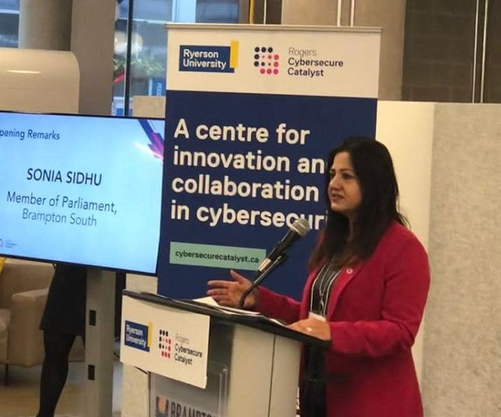 MP Sonia Sidhu addresses the first batch of students at Ryerson Cybersecurity Catalyst hub